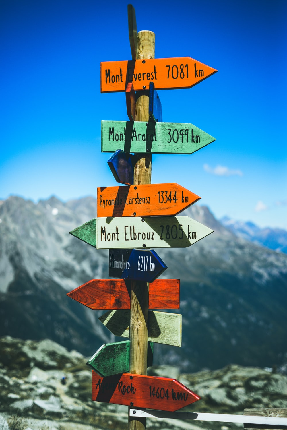 assorted-color wooden road sign
