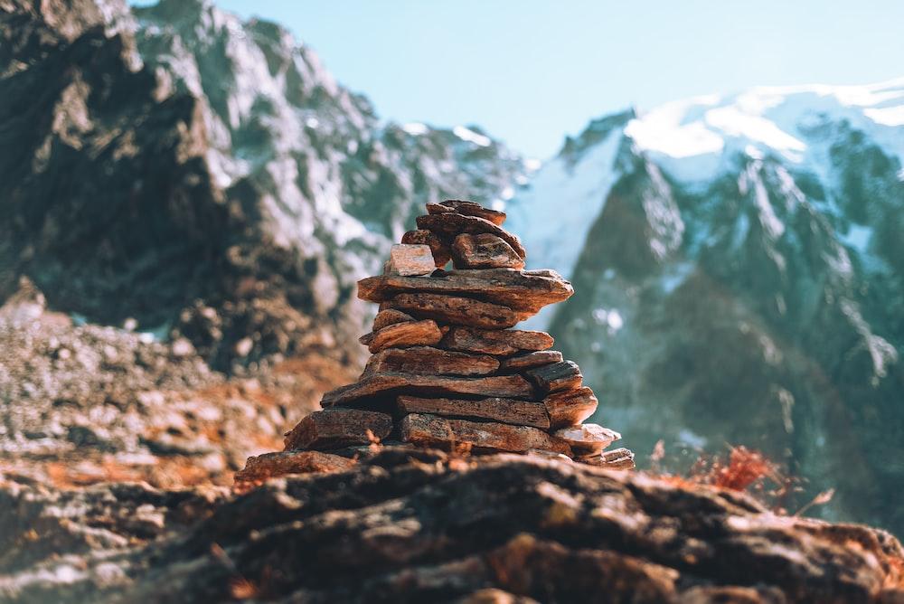 brown rock cairns