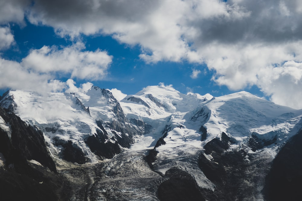 snow mountain and cloud formation