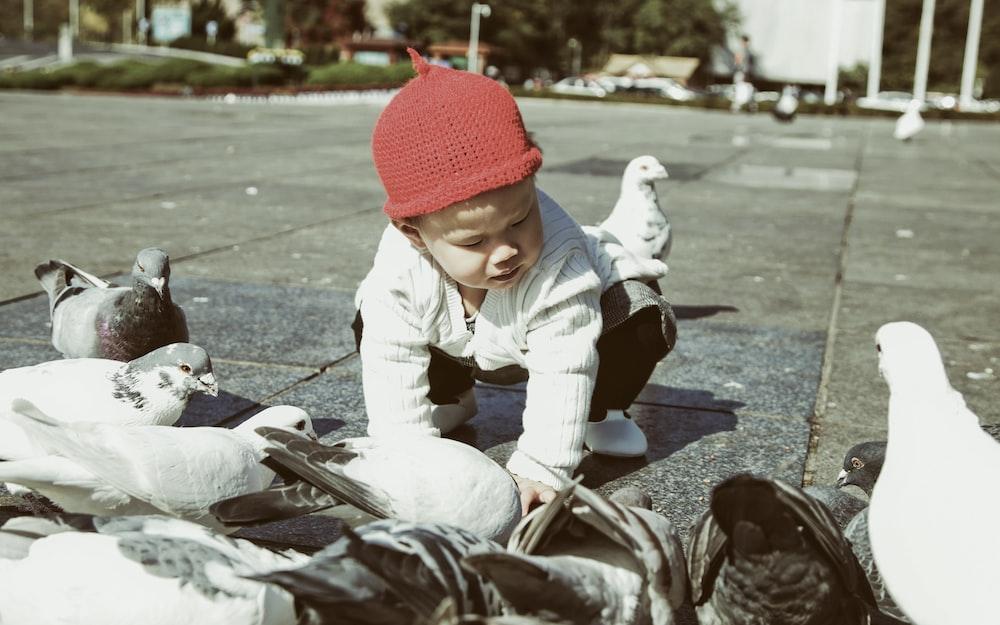 boy holding pigeons