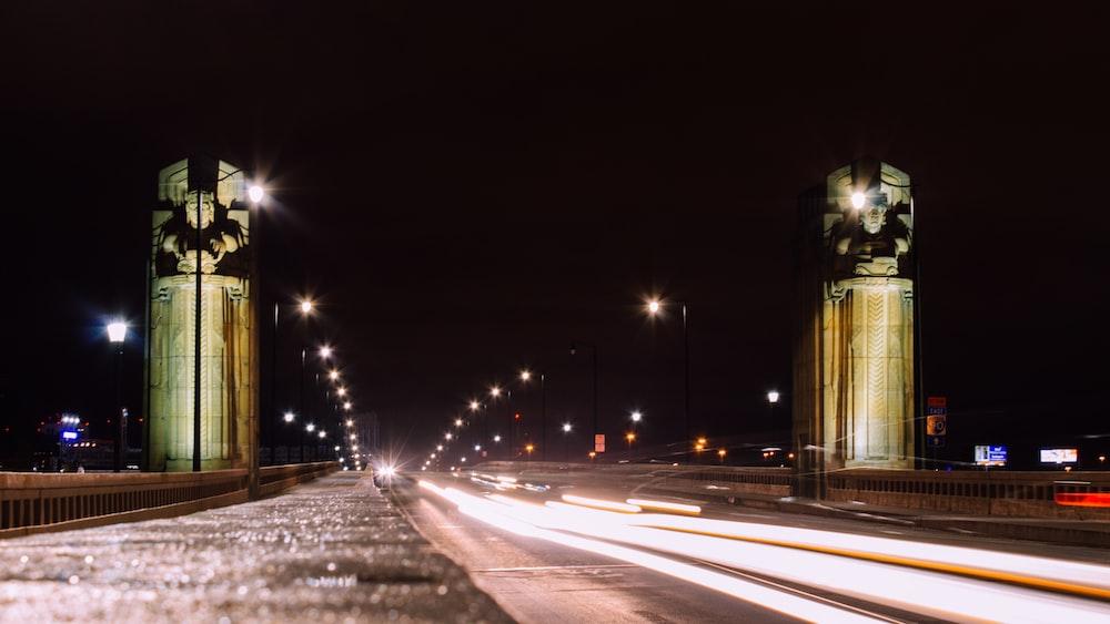 timelapse photo of cars on bridge