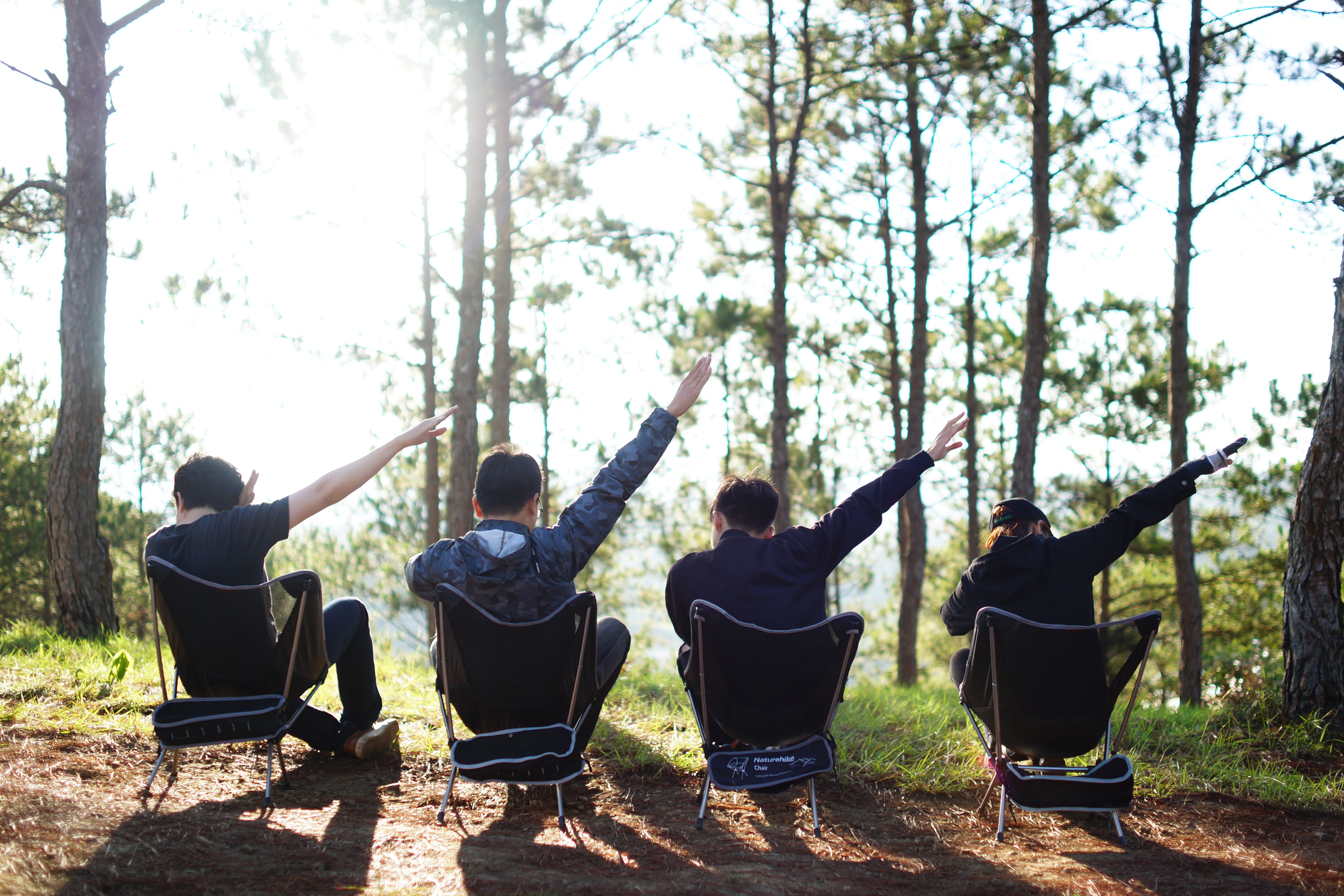 four people sitting on camping chairs near trees
