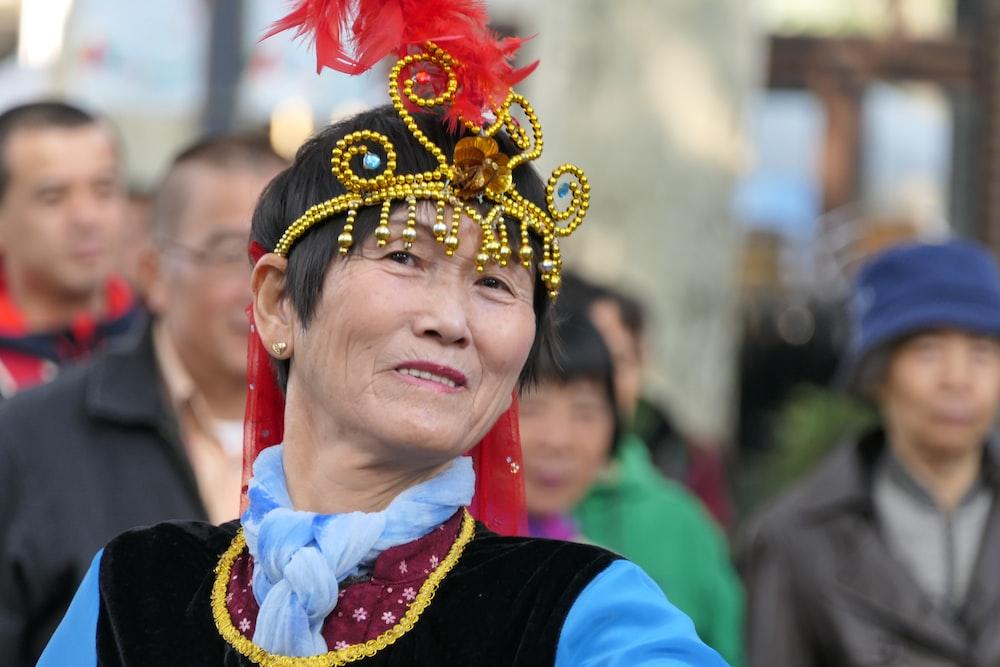 woman wearing headdress