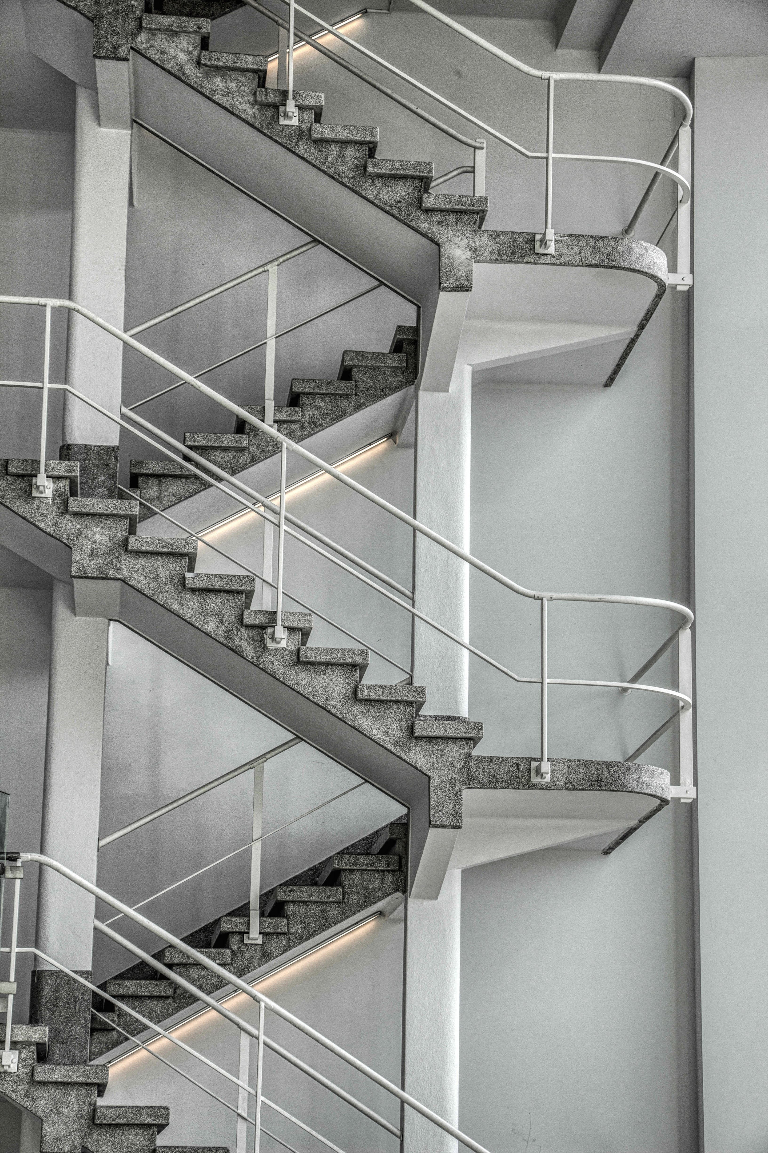 gray and white stair in room