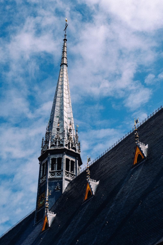 gray and black concrete church