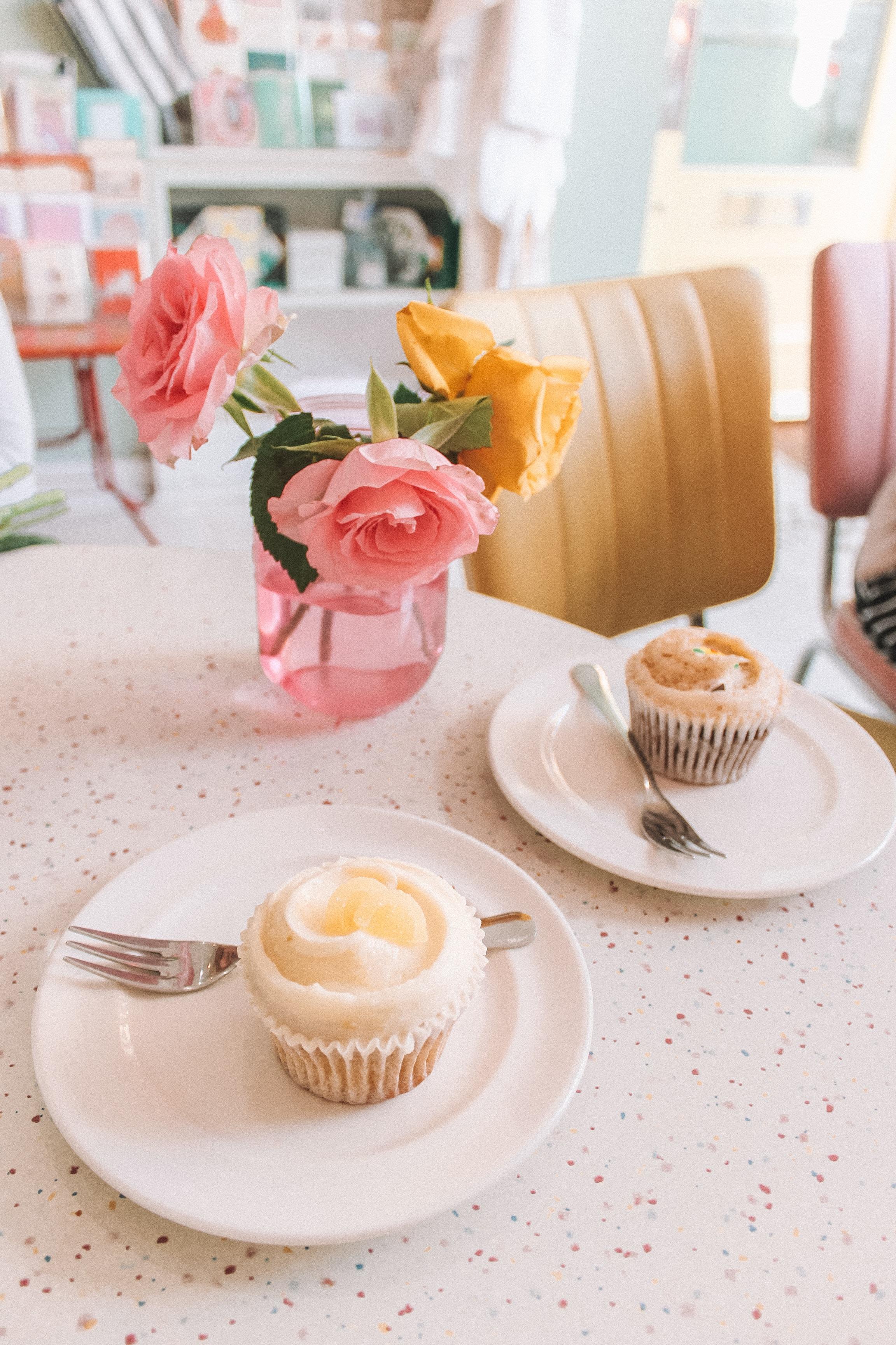 white and pink ceramic tea set
