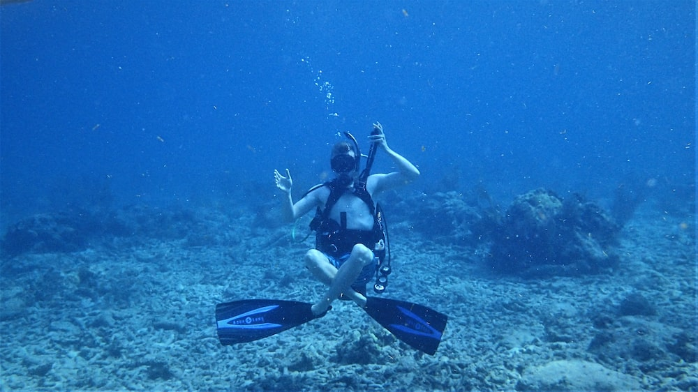 underwater photo of woman