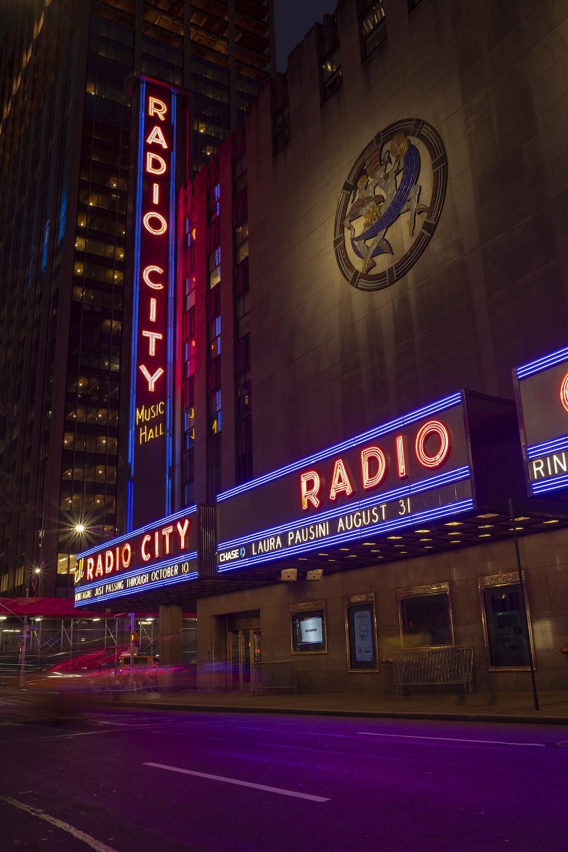 Radio City music hall building at night