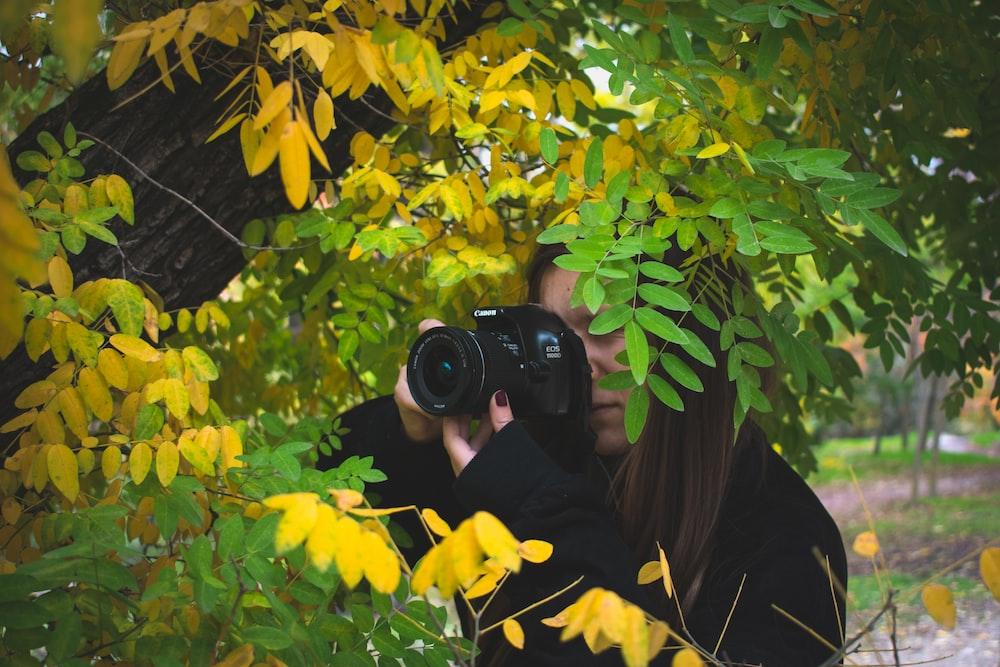 woman taking photo beside tree