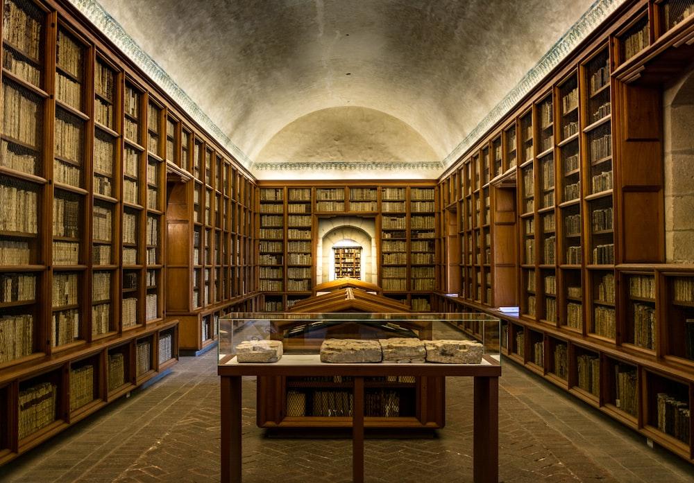brown wooden bookshelves
