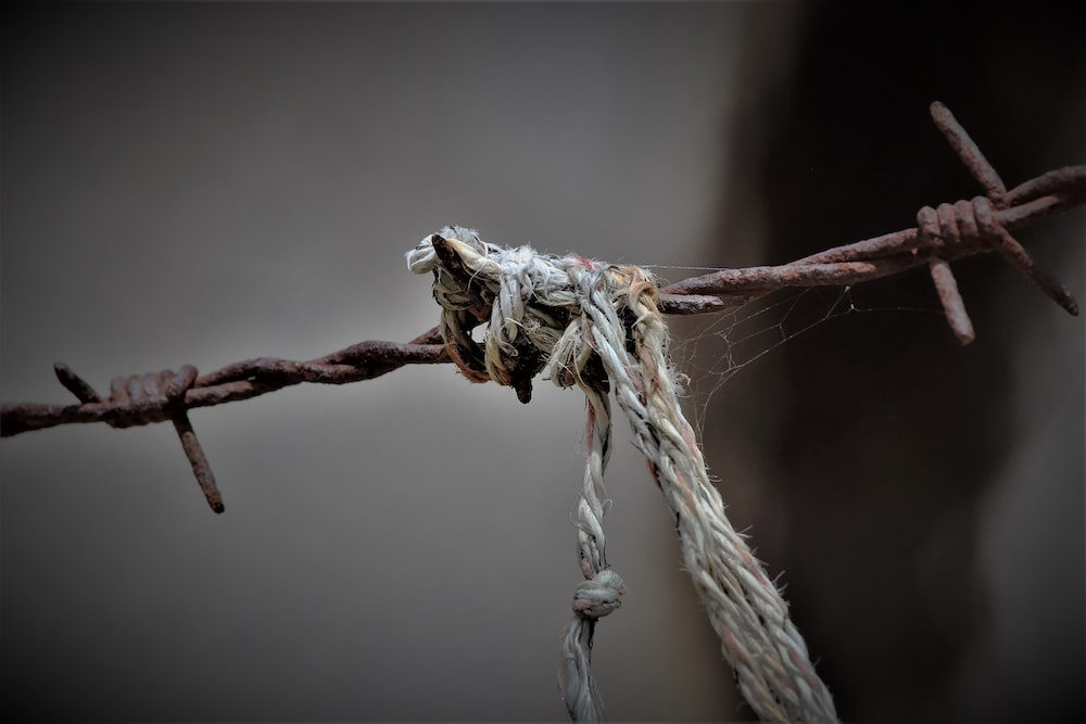 closeup photography of grey wire