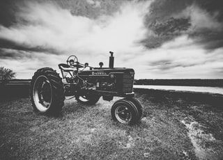 grayscale photo of tractor