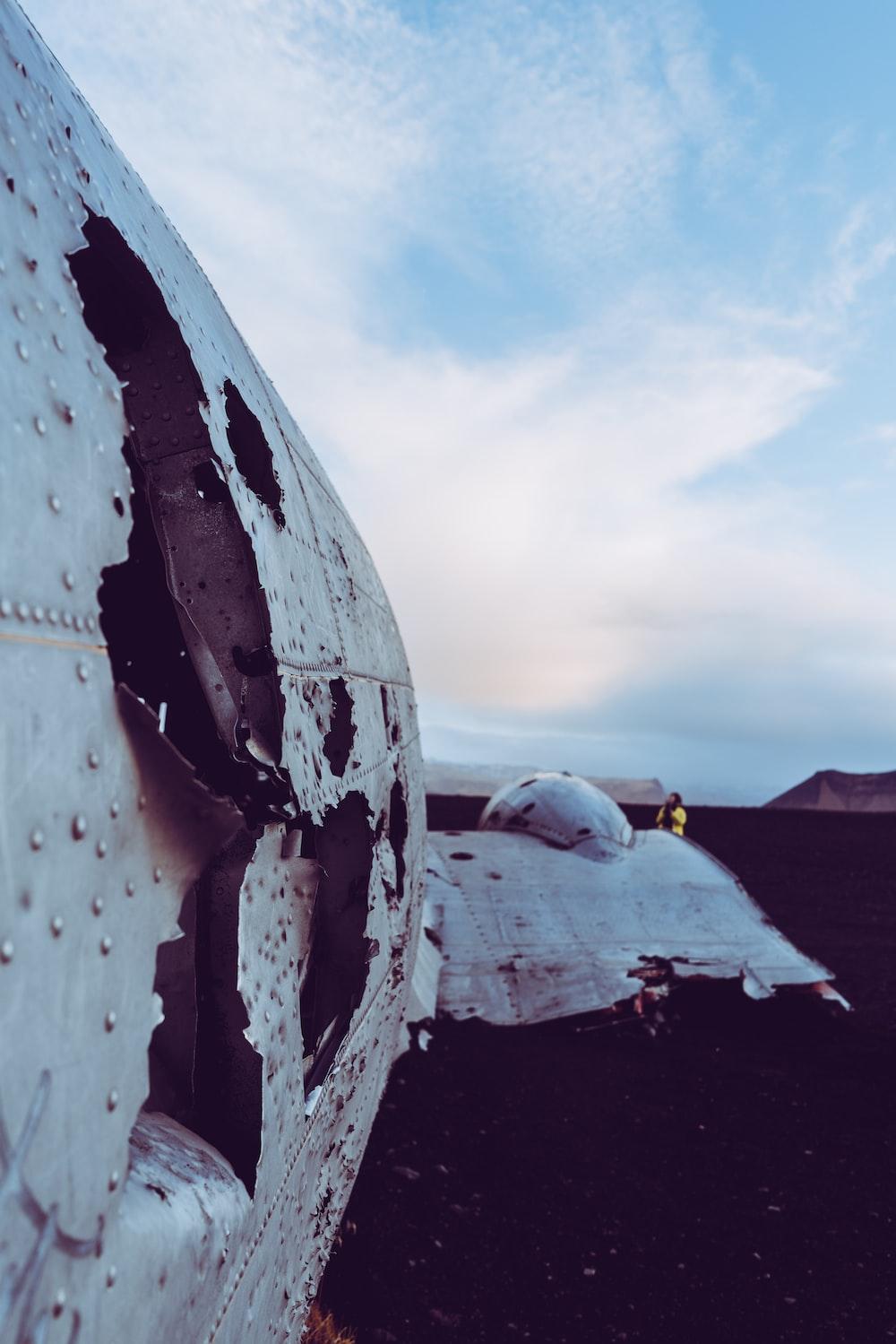 wrecked white plane