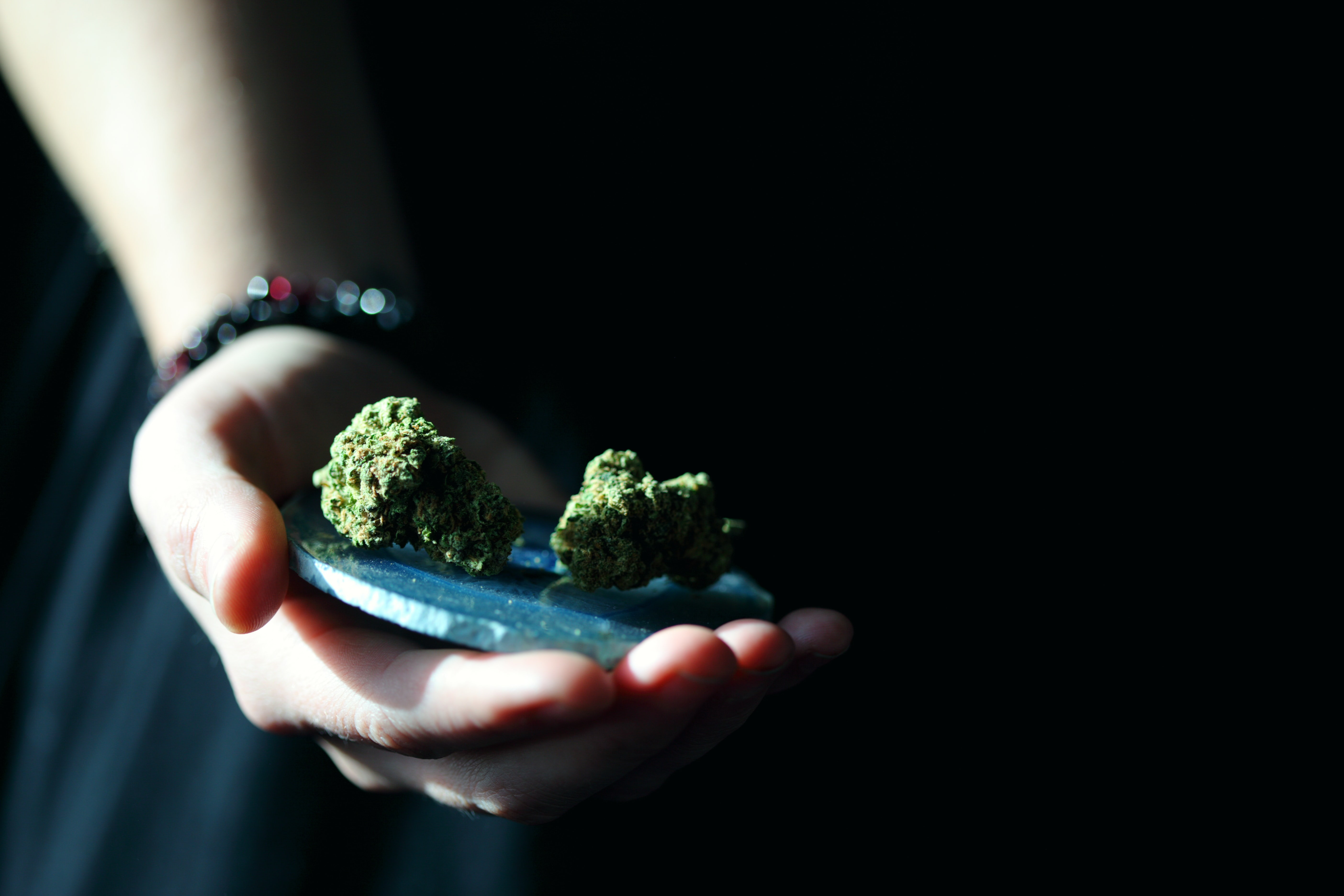 person holding green kush