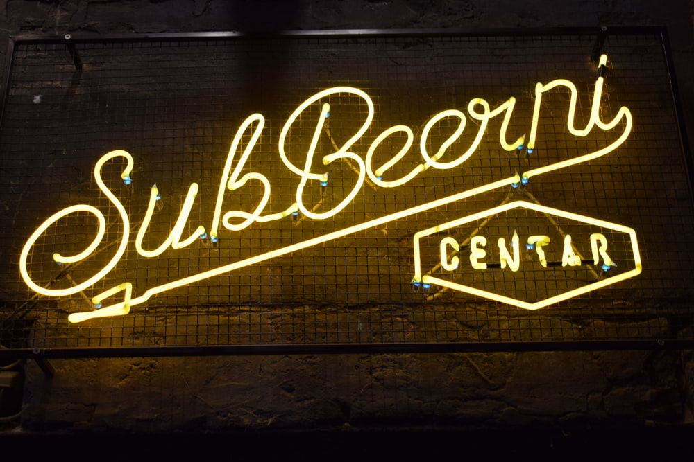 white Sub Beer Ni Centar neon light signage