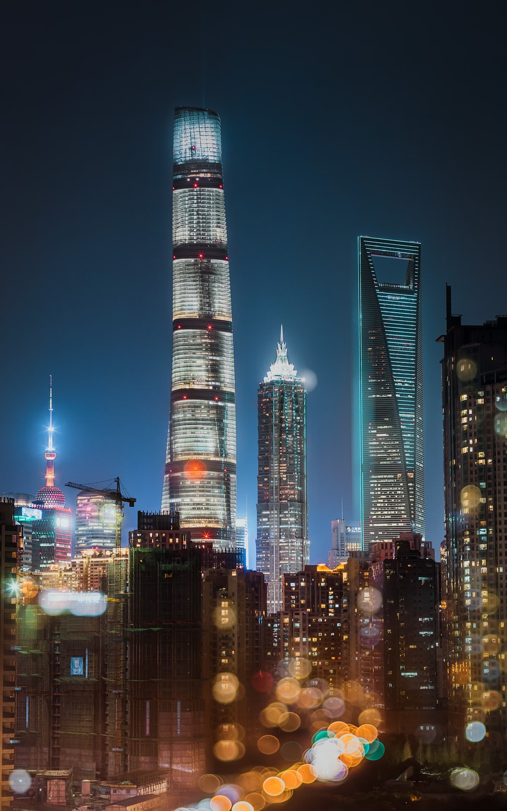 high-rise buildings with bokeh effect
