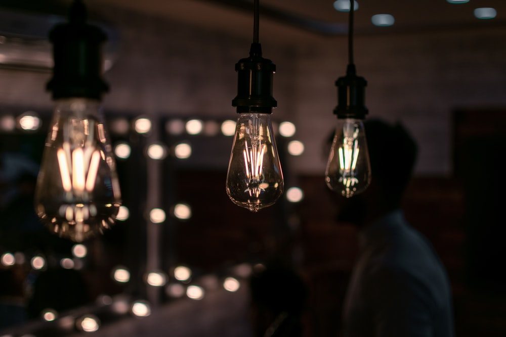 filament bulbs turned-on