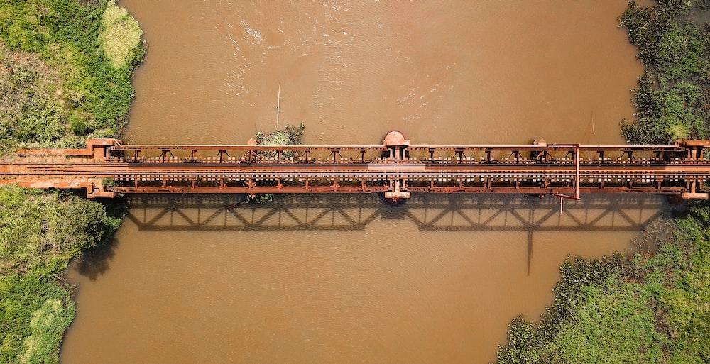 aerial photography of brown metal bridge