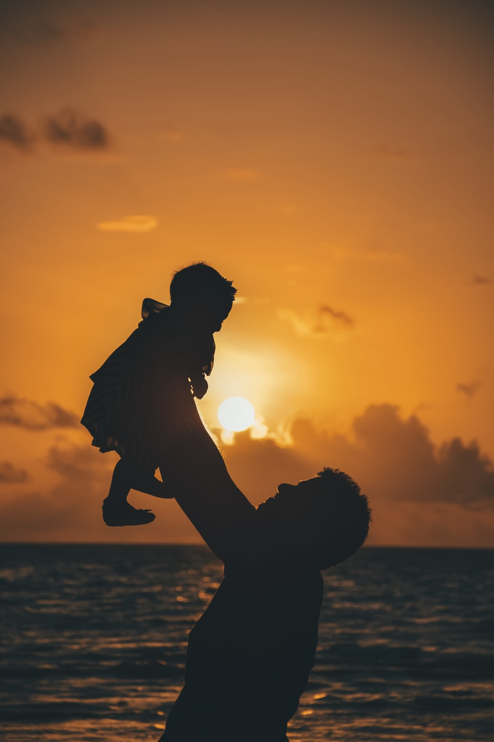 silhouette photo of man carrying baby during golden hour