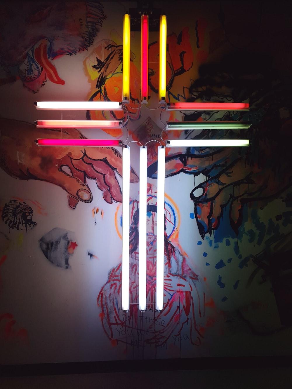 multicolored cross decor