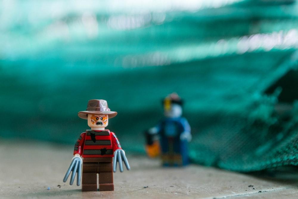 focus photography of Lego Freddy Krueger Minifig