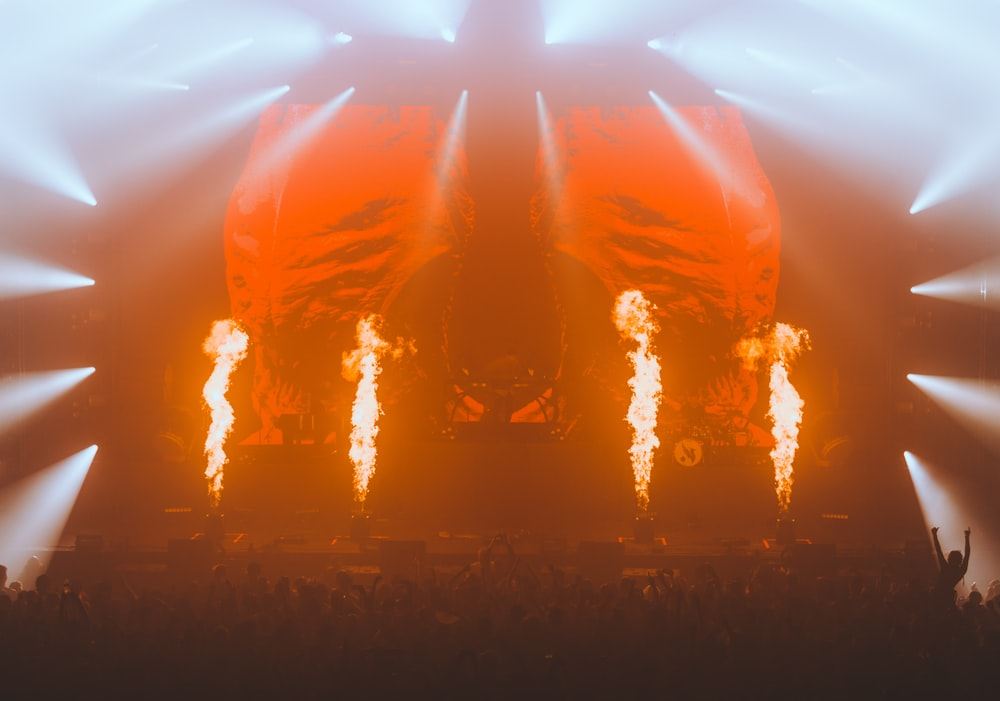 stage with light and fire