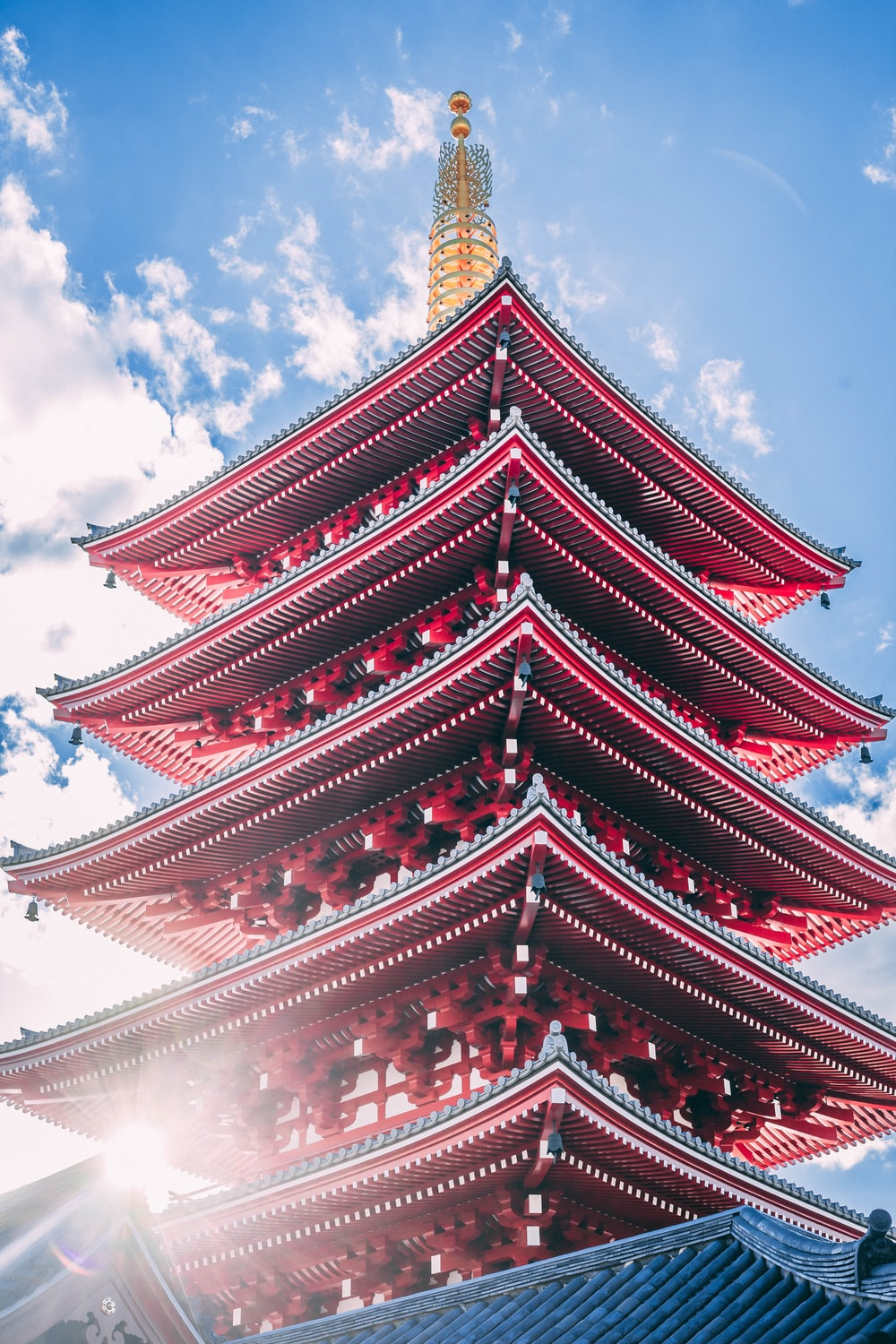 architectural photography of red pagoda temple