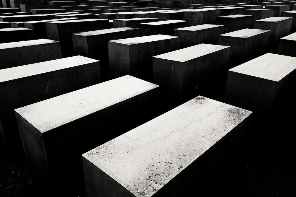 grayscale photo of maze