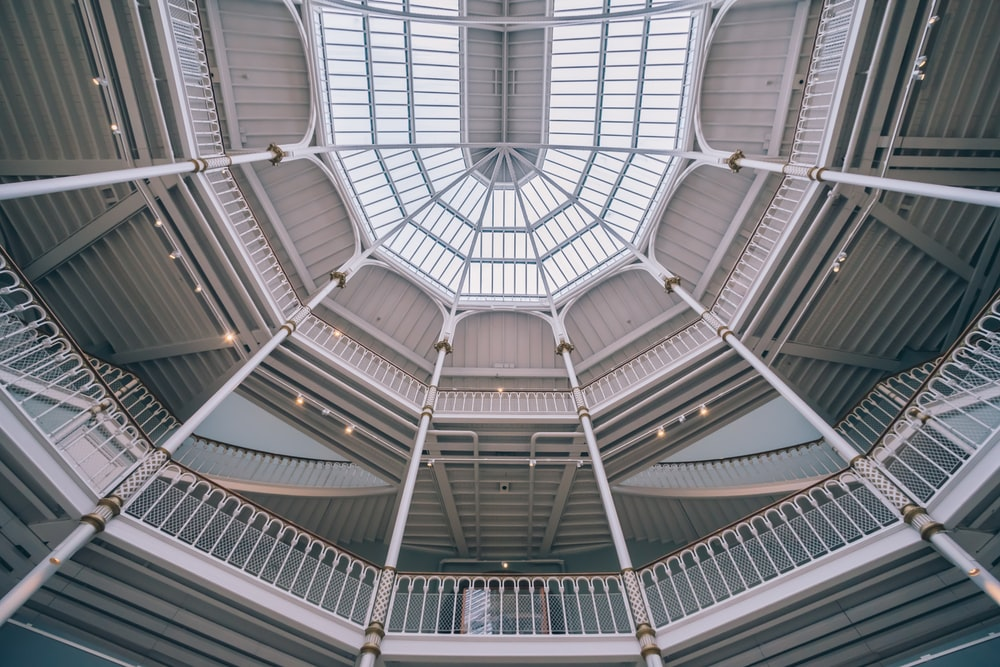 architectural photography of white ceiling