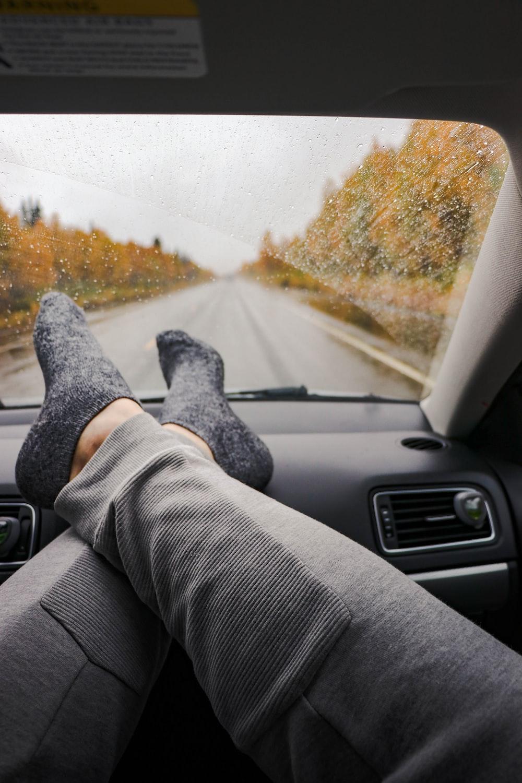 person wearing gray socks