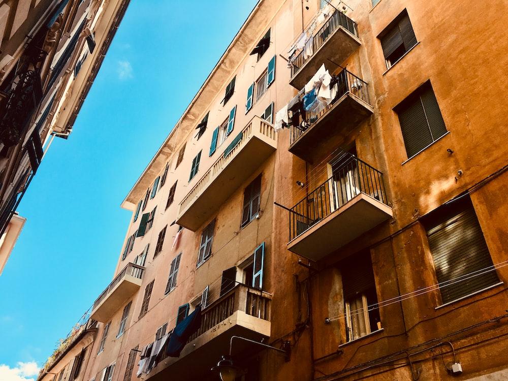 clothes hanged at false balcony