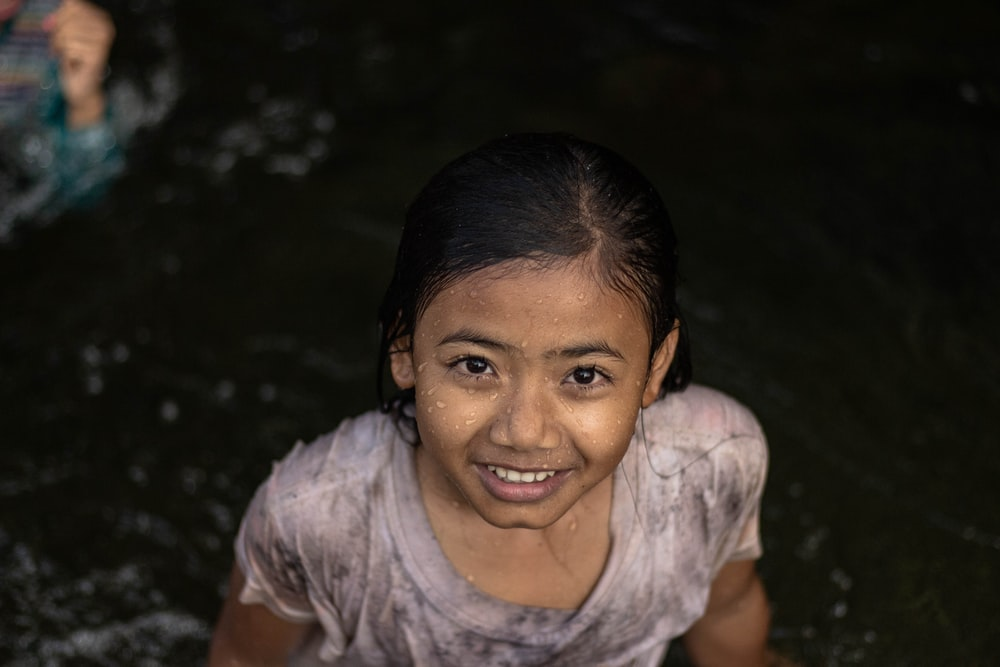 girl soaked on water