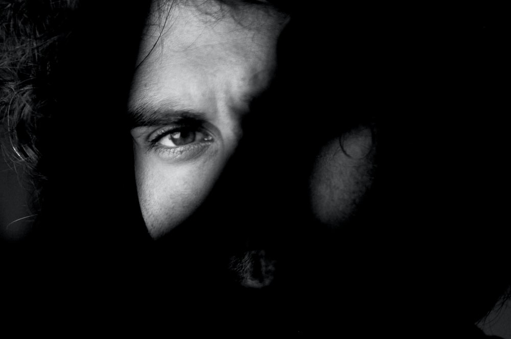 grayscale photo of man