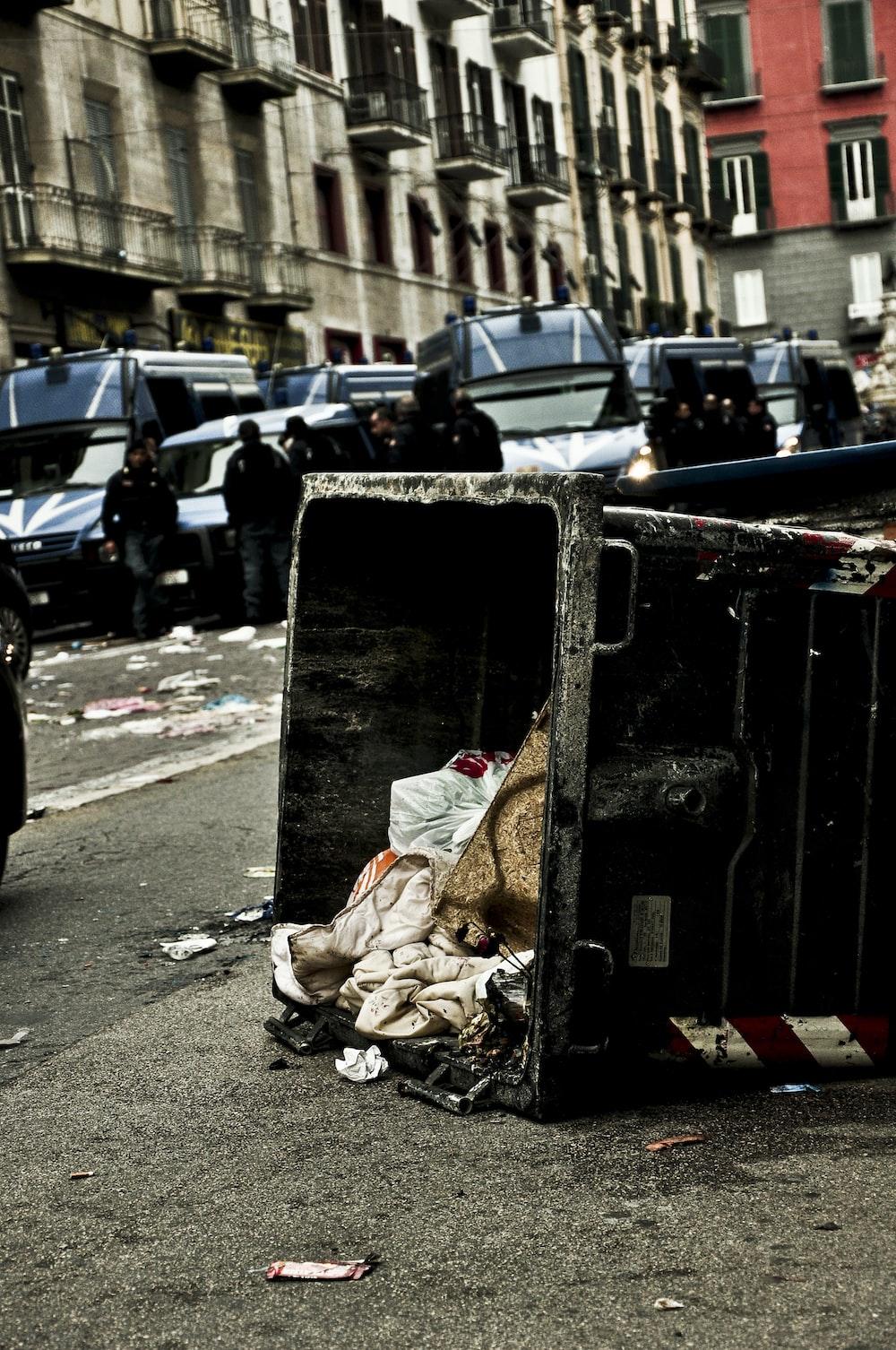spilled garbage on road