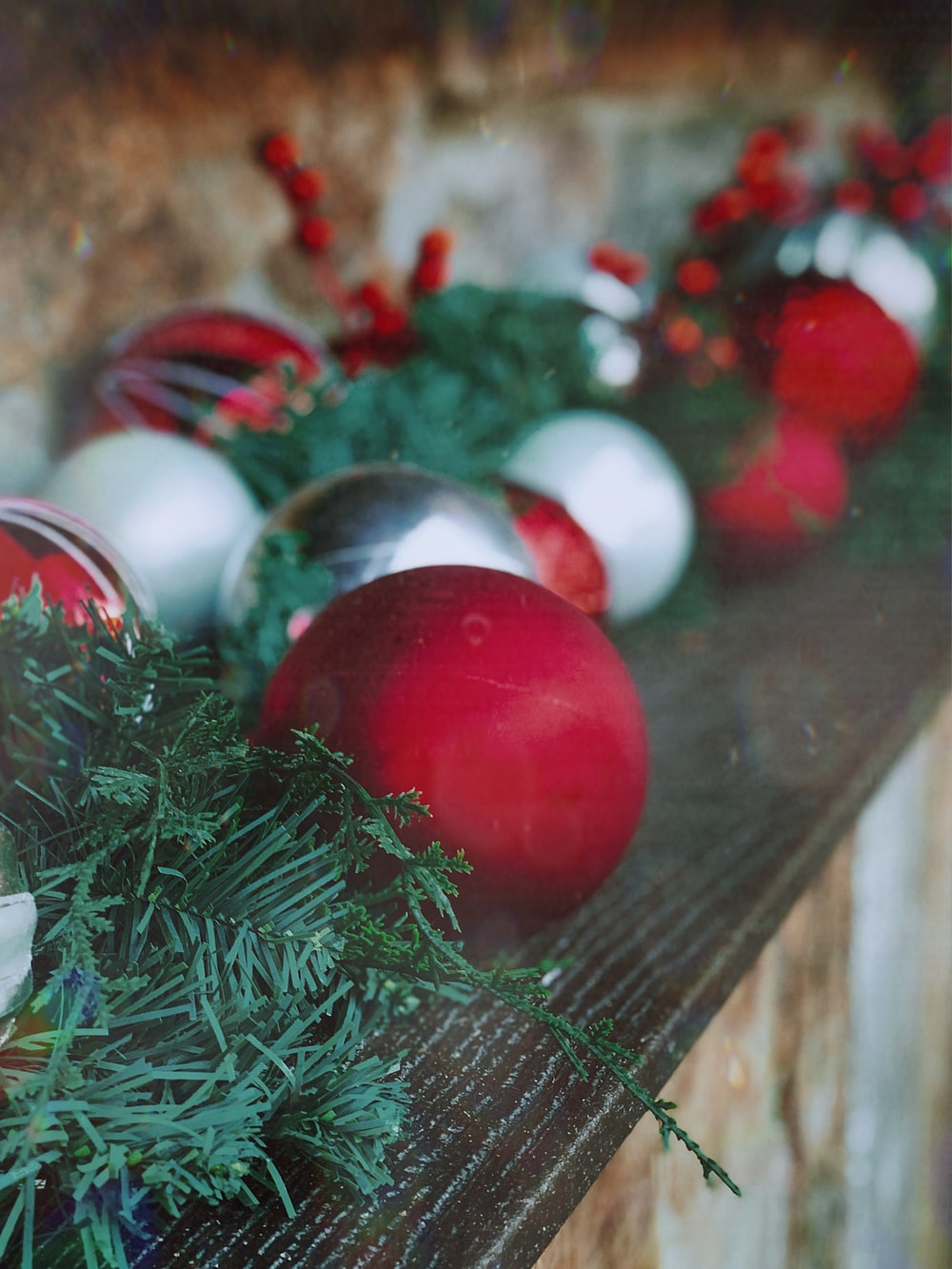 red, white, and silver baubles