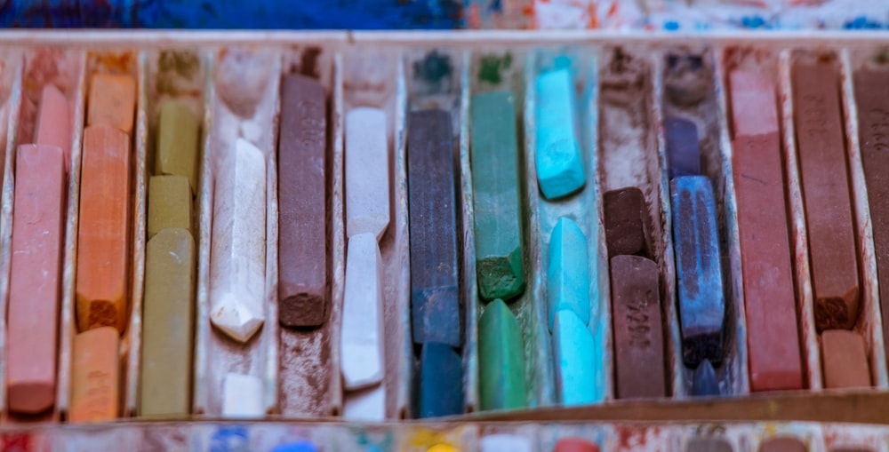assorted-colored chalks