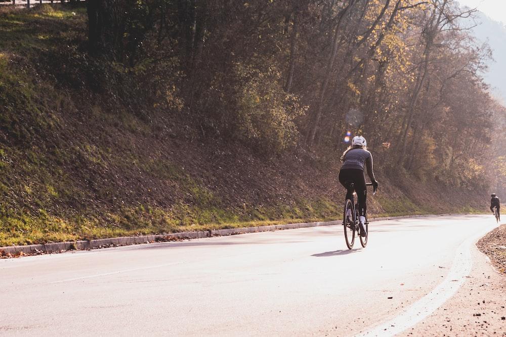 woman riding bike