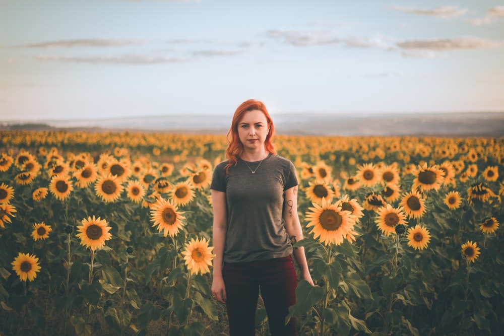 woman standing at bed of sunflowers