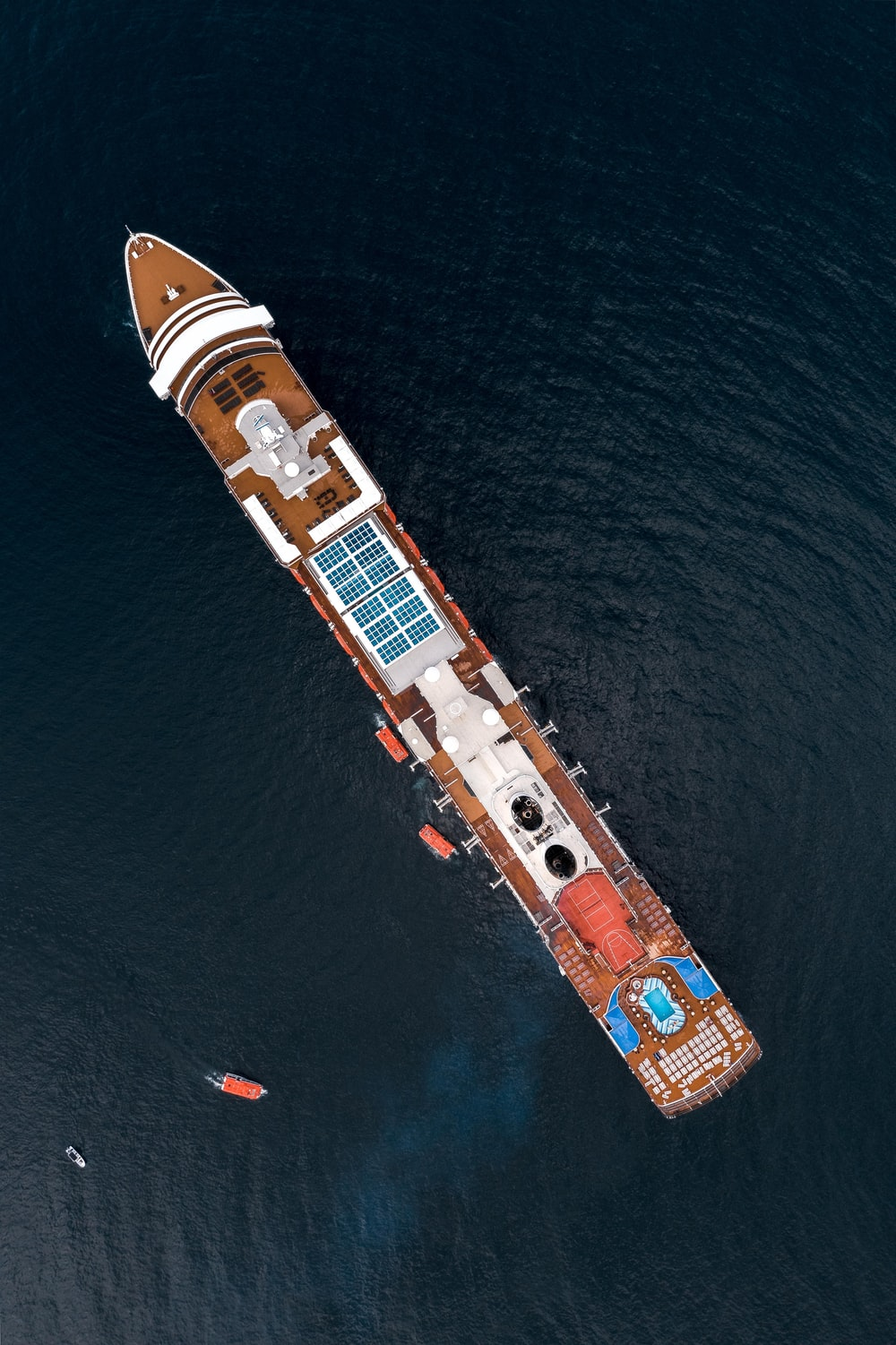 white and brown cruise ship