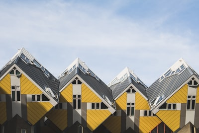 yellow and gray houses netherlands zoom background