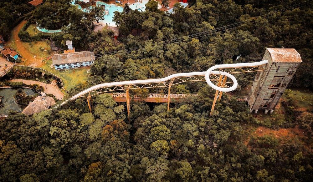 aerial view of pool slide