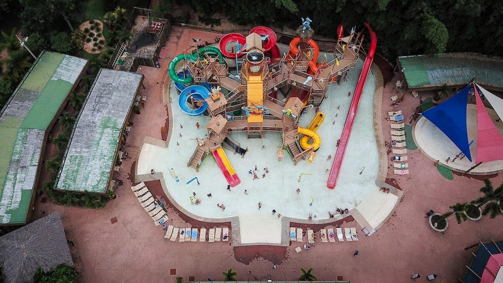 bird's-eye photography of pool slide