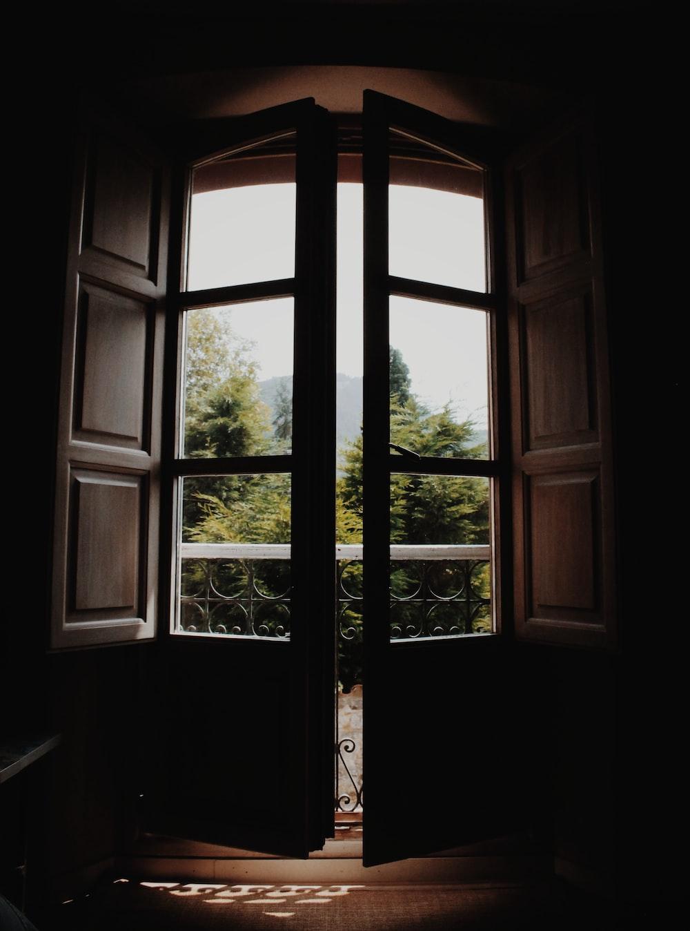 black glass panel door