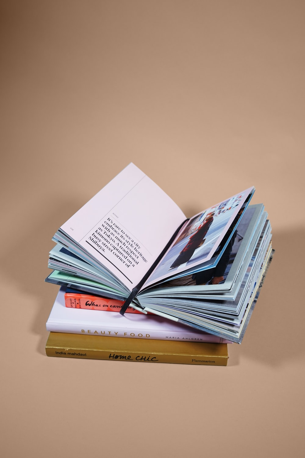 open book on top of several stacked books