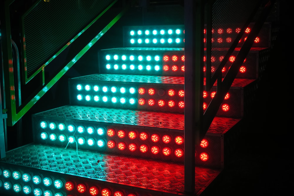 staircase with LED light