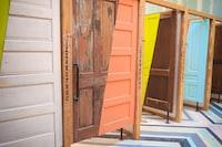 brown wooden 3-panel room divider