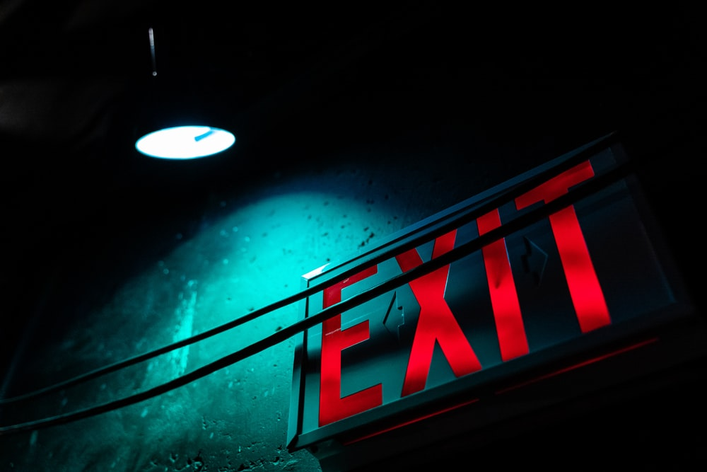 red exit LED signage turned on