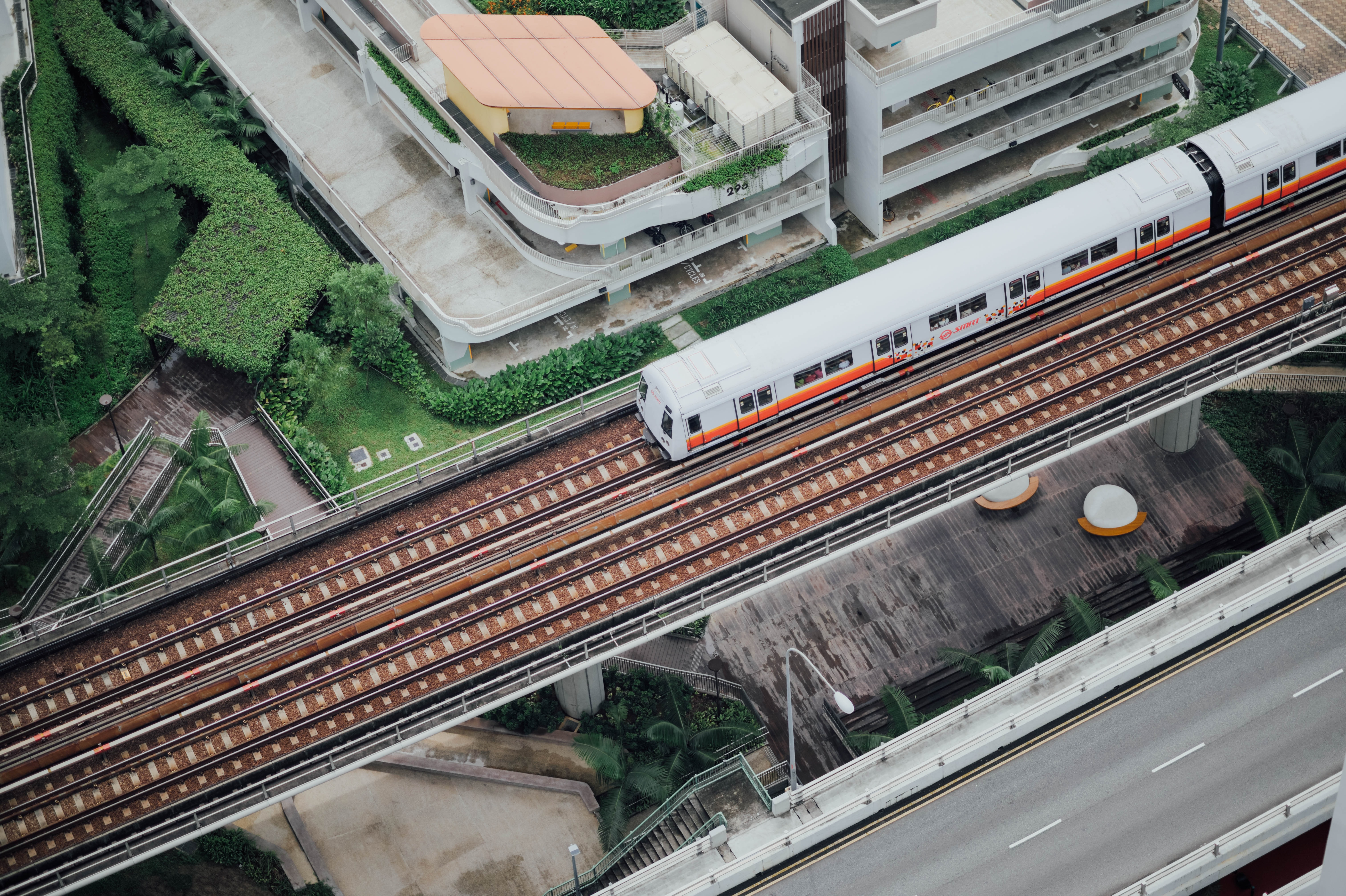 aerial photography of train on track during daytime