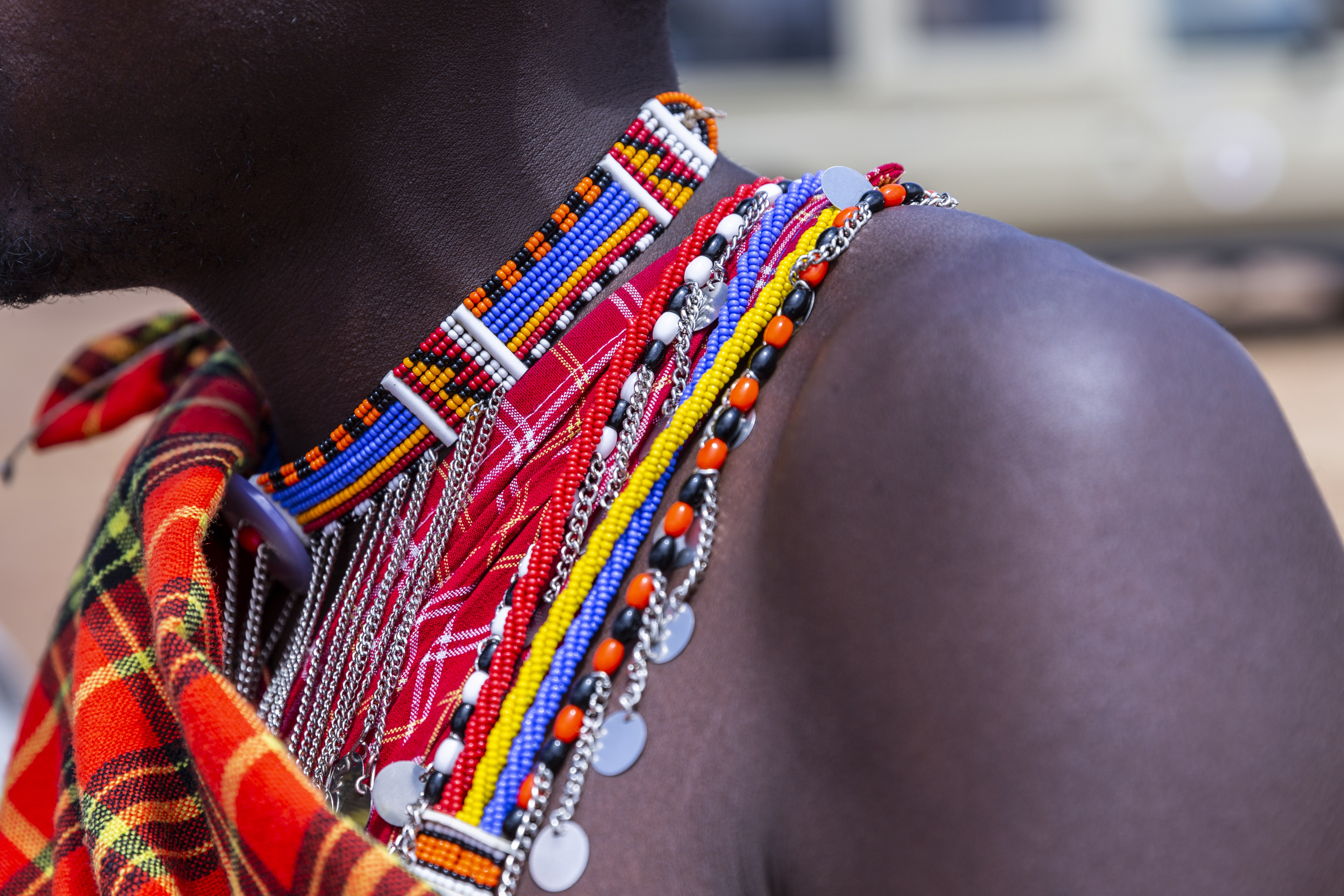 person wearing beaded multicolored necklace in selective focus photography