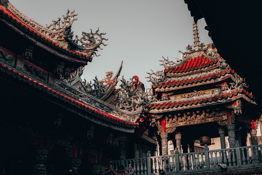 brown and red Chinese castle